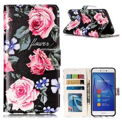 Peony 3D Relief Oil PU Leather Wallet Case for Huawei P8 Lite 2017 / P9 Honor 8 Nova Lite