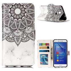 Marble Mandala 3D Relief Oil PU Leather Wallet Case for Huawei P8 Lite 2017 / P9 Honor 8 Nova Lite