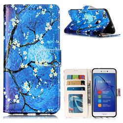 Plum Blossom 3D Relief Oil PU Leather Wallet Case for Huawei P8 Lite 2017 / P9 Honor 8 Nova Lite