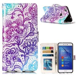 Purple Lotus 3D Relief Oil PU Leather Wallet Case for Huawei P8 Lite 2017 / P9 Honor 8 Nova Lite