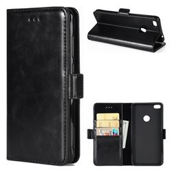 Luxury Crazy Horse PU Leather Wallet Case for Huawei P8 Lite 2017 / P9 Honor 8 Nova Lite - Black