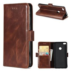 Luxury Crazy Horse PU Leather Wallet Case for Huawei P8 Lite 2017 / P9 Honor 8 Nova Lite - Coffee