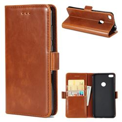 Luxury Crazy Horse PU Leather Wallet Case for Huawei P8 Lite 2017 / P9 Honor 8 Nova Lite - Brown