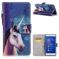 Blue Unicorn PU Leather Wallet Case for Huawei P8 Lite 2017 / P9 Honor 8 Nova Lite