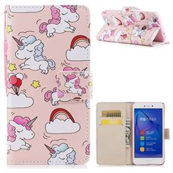 Rainbow Unicorn PU Leather Wallet Case for Huawei P8 Lite 2017 / P9 Honor 8 Nova Lite