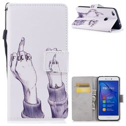 Middle Finger PU Leather Wallet Case for Huawei P8 Lite 2017 / P9 Honor 8 Nova Lite