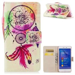 Feather Wind Chimes PU Leather Wallet Case for Huawei P8 Lite 2017 / P9 Honor 8 Nova Lite