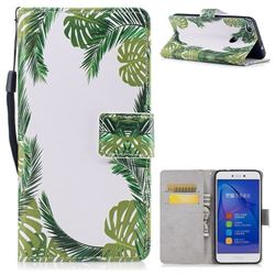 Green Leaves PU Leather Wallet Case for Huawei P8 Lite 2017 / P9 Honor 8 Nova Lite