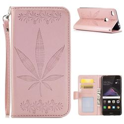 Intricate Embossing Maple Leather Wallet Case for Huawei P8 Lite 2017 / P9 Honor 8 Nova Lite - Rose Gold