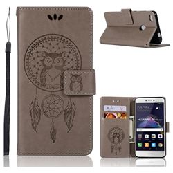 Intricate Embossing Owl Campanula Leather Wallet Case for Huawei P8 Lite 2017 / P9 Honor 8 Nova Lite - Grey
