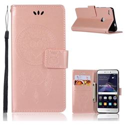 Intricate Embossing Owl Campanula Leather Wallet Case for Huawei P8 Lite 2017 / P9 Honor 8 Nova Lite - Rose Gold