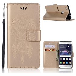 Intricate Embossing Owl Campanula Leather Wallet Case for Huawei P8 Lite 2017 / P9 Honor 8 Nova Lite - Champagne