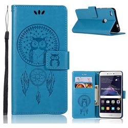 Intricate Embossing Owl Campanula Leather Wallet Case for Huawei P8 Lite 2017 / P9 Honor 8 Nova Lite - Blue