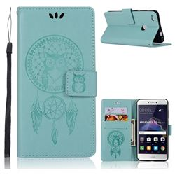 Intricate Embossing Owl Campanula Leather Wallet Case for Huawei P8 Lite 2017 / P9 Honor 8 Nova Lite - Green