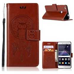 Intricate Embossing Owl Campanula Leather Wallet Case for Huawei P8 Lite 2017 / P9 Honor 8 Nova Lite - Brown