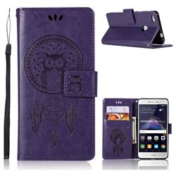 Intricate Embossing Owl Campanula Leather Wallet Case for Huawei P8 Lite 2017 / P9 Honor 8 Nova Lite - Purple