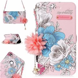 Pink Blue Rose Endeavour Florid Pearl Flower Pendant Metal Strap PU Leather Wallet Case for Huawei P8 Lite 2017 / P9 Honor 8 Nova Lite