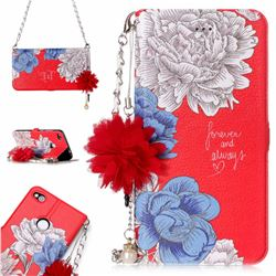 Red Chrysanthemum Endeavour Florid Pearl Flower Pendant Metal Strap PU Leather Wallet Case for Huawei P8 Lite 2017 / P9 Honor 8 Nova Lite