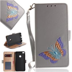 Imprint Embossing Butterfly Leather Wallet Case for Huawei P8 Lite 2017 / P9 Honor 8 Nova Lite - Grey