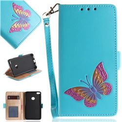 Imprint Embossing Butterfly Leather Wallet Case for Huawei P8 Lite 2017 / P9 Honor 8 Nova Lite - Sky Blue