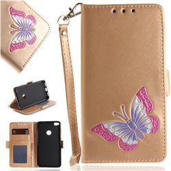 Imprint Embossing Butterfly Leather Wallet Case for Huawei P8 Lite 2017 / P9 Honor 8 Nova Lite - Golden