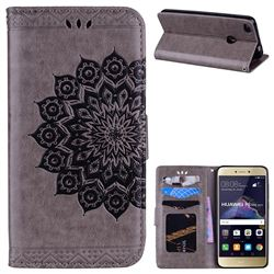 Datura Flowers Flash Powder Leather Wallet Holster Case for Huawei P8 Lite 2017 / P9 Honor 8 Nova Lite - Gray