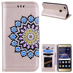 Datura Flowers Flash Powder Leather Wallet Holster Case for Huawei P8 Lite 2017 / P9 Honor 8 Nova Lite - Golden