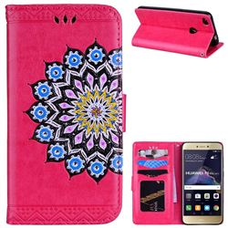 Datura Flowers Flash Powder Leather Wallet Holster Case for Huawei P8 Lite 2017 / P9 Honor 8 Nova Lite - Rose