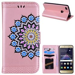 Datura Flowers Flash Powder Leather Wallet Holster Case for Huawei P8 Lite 2017 / P9 Honor 8 Nova Lite - Pink