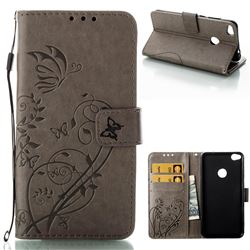 Embossing Butterfly Flower Leather Wallet Case for Huawei P8 Lite 2017 / P9 Honor 8 Nova Lite - Grey