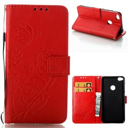 Embossing Butterfly Flower Leather Wallet Case for Huawei P8 Lite 2017 / P9 Honor 8 Nova Lite - Red