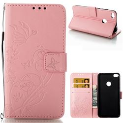 Embossing Butterfly Flower Leather Wallet Case for Huawei P8 Lite 2017 / P9 Honor 8 Nova Lite - Pink