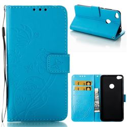 Embossing Butterfly Flower Leather Wallet Case for Huawei P8 Lite 2017 / P9 Honor 8 Nova Lite - Blue