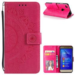 Intricate Embossing Datura Leather Wallet Case for Huawei P8 Lite 2017 / P9 Honor 8 Nova Lite - Rose Red