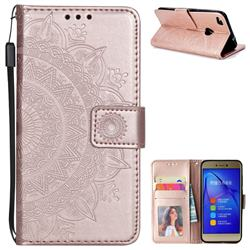 Intricate Embossing Datura Leather Wallet Case for Huawei P8 Lite 2017 / P9 Honor 8 Nova Lite - Rose Gold