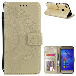 Intricate Embossing Datura Leather Wallet Case for Huawei P8 Lite 2017 / P9 Honor 8 Nova Lite - Golden