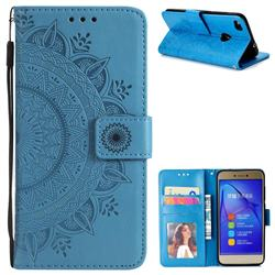 Intricate Embossing Datura Leather Wallet Case for Huawei P8 Lite 2017 / P9 Honor 8 Nova Lite - Blue