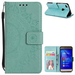 Intricate Embossing Datura Leather Wallet Case for Huawei P8 Lite 2017 / P9 Honor 8 Nova Lite - Mint Green