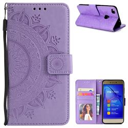 Intricate Embossing Datura Leather Wallet Case for Huawei P8 Lite 2017 / P9 Honor 8 Nova Lite - Purple