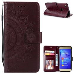 Intricate Embossing Datura Leather Wallet Case for Huawei P8 Lite 2017 / P9 Honor 8 Nova Lite - Brown