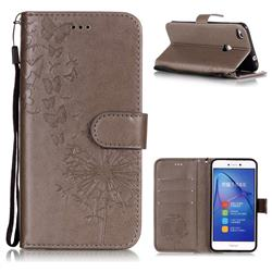Intricate Embossing Dandelion Butterfly Leather Wallet Case for Huawei P8 Lite 2017 / P9 Honor 8 Nova Lite - Gray
