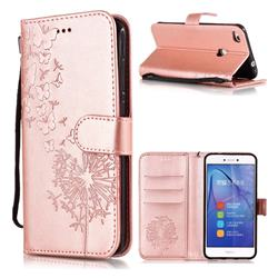 Intricate Embossing Dandelion Butterfly Leather Wallet Case for Huawei P8 Lite 2017 / P9 Honor 8 Nova Lite - Rose Gold