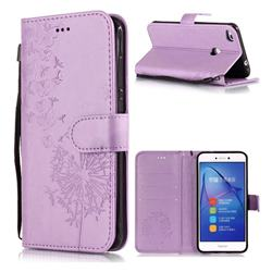 Intricate Embossing Dandelion Butterfly Leather Wallet Case for Huawei P8 Lite 2017 / P9 Honor 8 Nova Lite - Purple