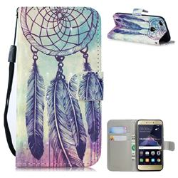 Feather Wind Chimes 3D Painted Leather Wallet Phone Case for Huawei P8 Lite 2017 / P9 Honor 8 Nova Lite