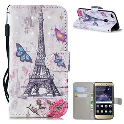 Paris Tower 3D Painted Leather Wallet Phone Case for Huawei P8 Lite 2017 / P9 Honor 8 Nova Lite