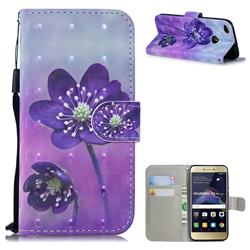 Purple Flower 3D Painted Leather Wallet Phone Case for Huawei P8 Lite 2017 / P9 Honor 8 Nova Lite