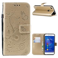 Intricate Embossing Butterfly Circle Leather Wallet Case for Huawei P8 Lite 2017 / P9 Honor 8 Nova Lite - Champagne