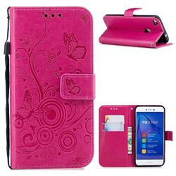 Intricate Embossing Butterfly Circle Leather Wallet Case for Huawei P8 Lite 2017 / P9 Honor 8 Nova Lite - Red