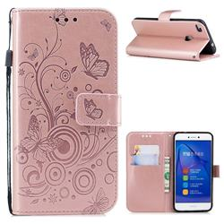 Intricate Embossing Butterfly Circle Leather Wallet Case for Huawei P8 Lite 2017 / P9 Honor 8 Nova Lite - Rose Gold