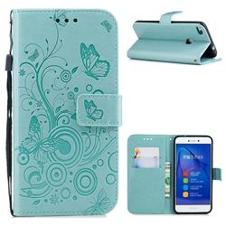 Intricate Embossing Butterfly Circle Leather Wallet Case for Huawei P8 Lite 2017 / P9 Honor 8 Nova Lite - Cyan